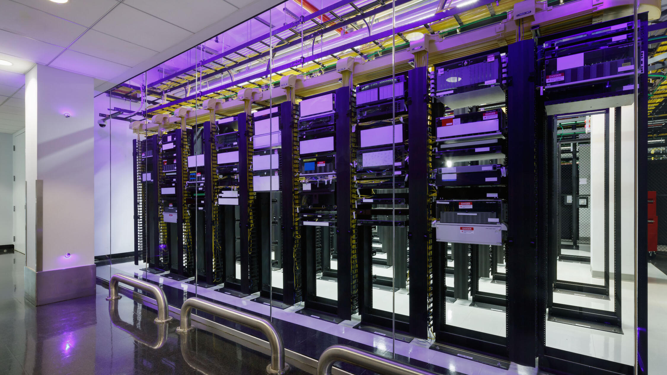 325 Hudson data center with rows of servers in racks