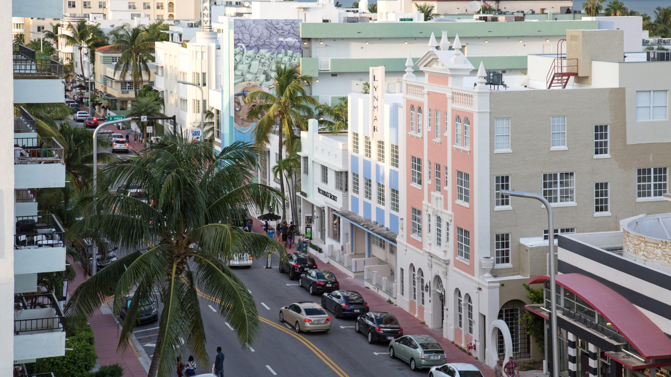 Elevated angle of Collins Avenue Collection in the late afternoon.