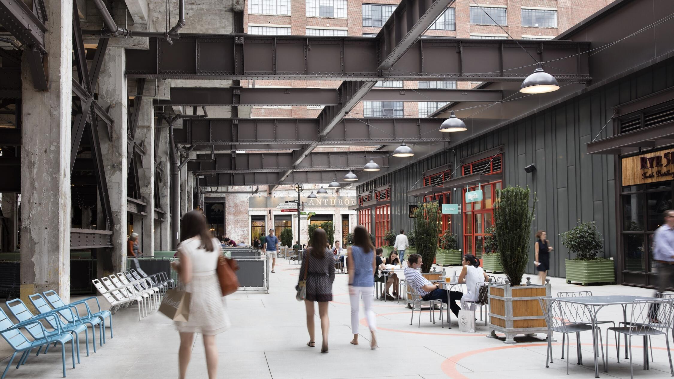 People walking through the courtyard of Ponce City Market