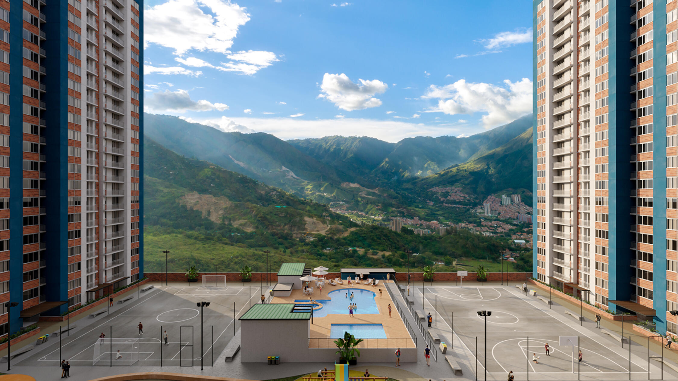 Rendering of apartment complex with sports courts in the middle and mountains in the distance.