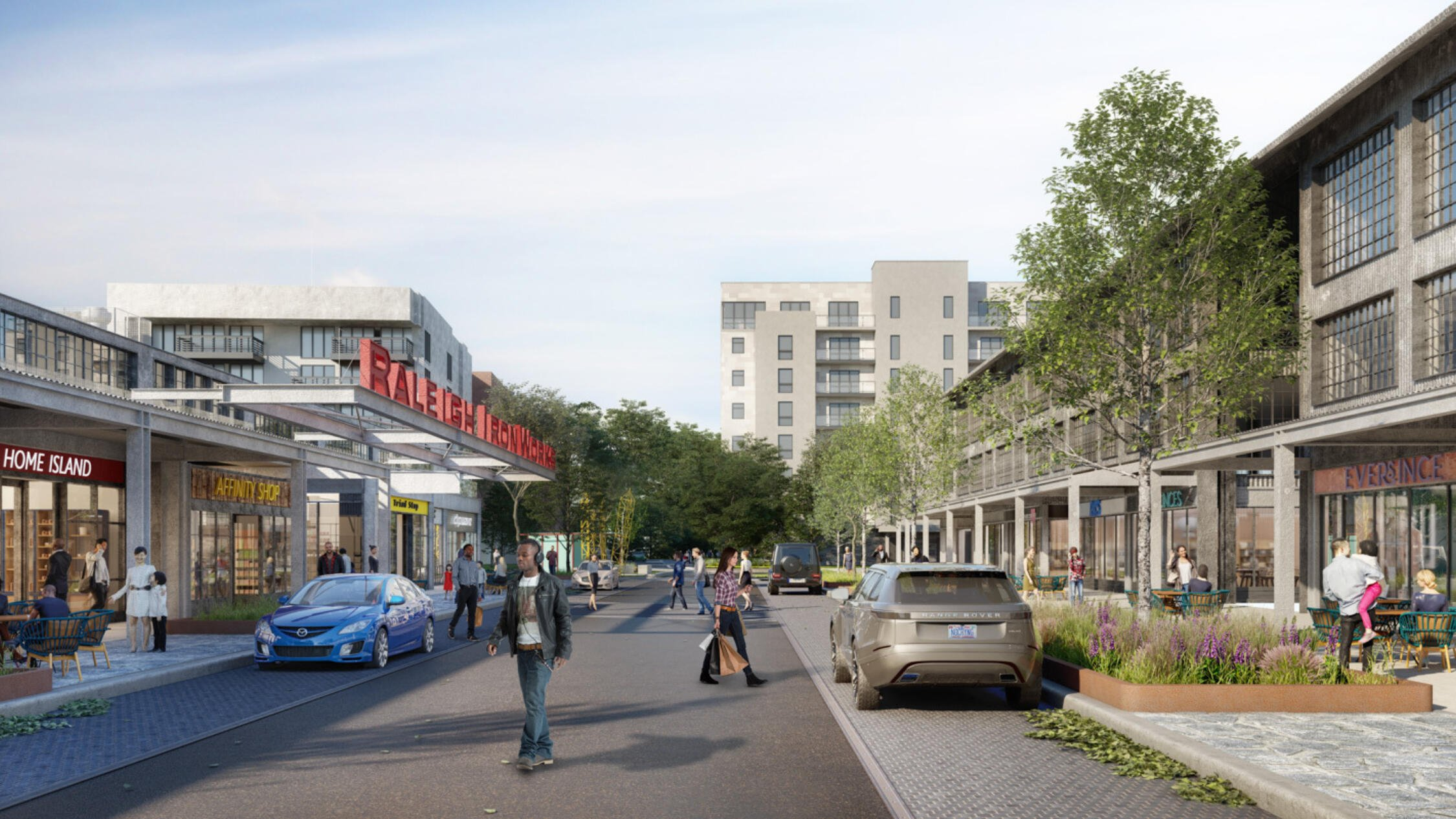 Raleigh Iron Works rendering of exterior with visitors walking along sidewalks facing retail stores and restaurants