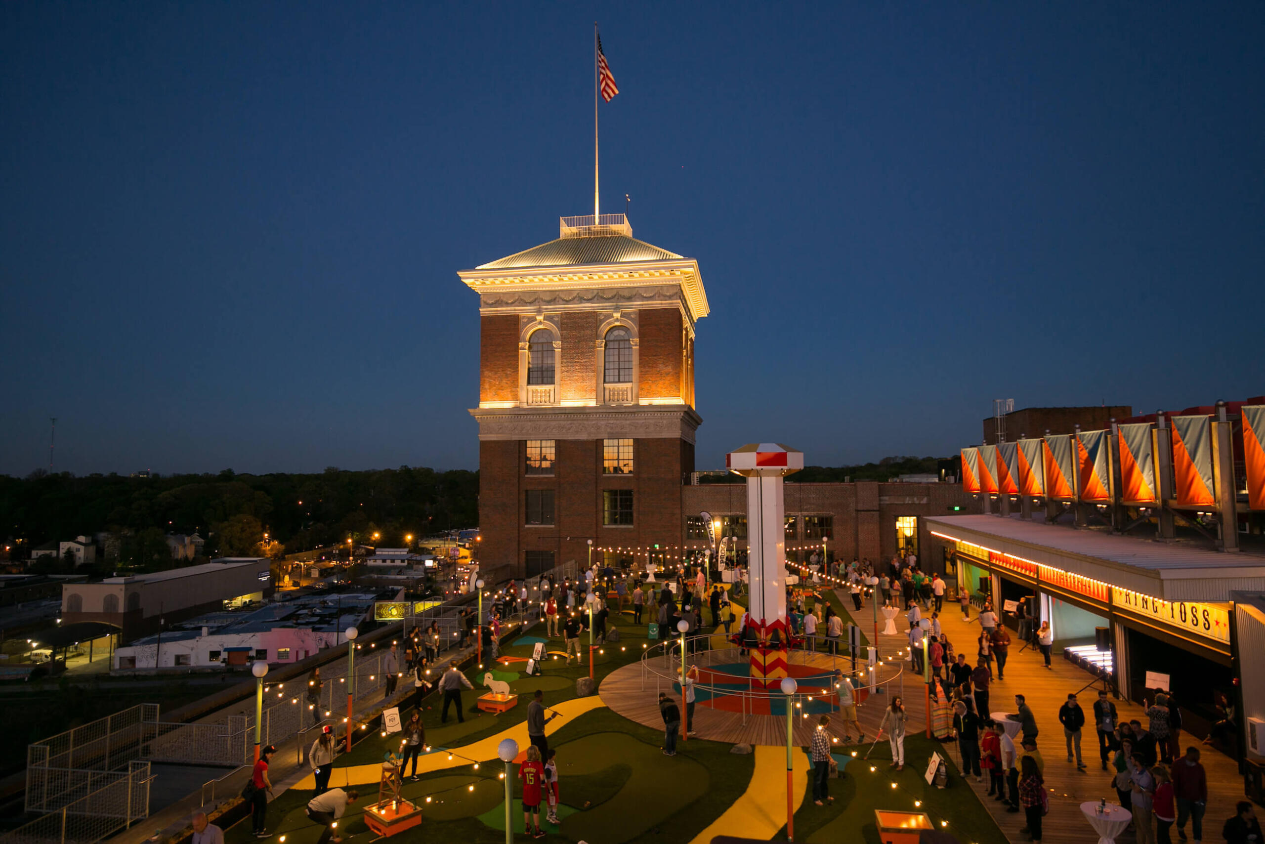 Rooftop of Ponce City Market at dusk