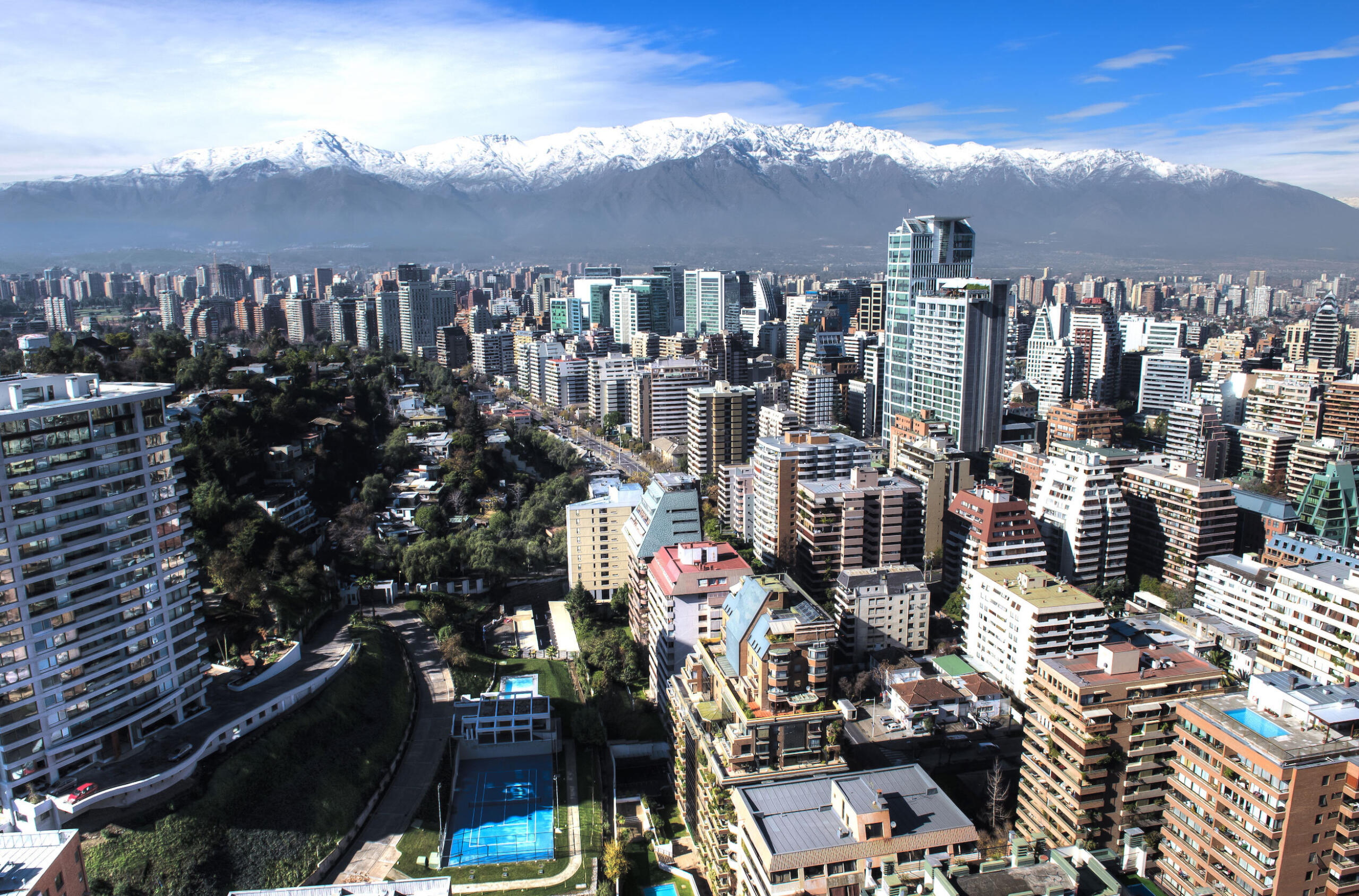 View of the expanse of Santiago, Chile under the Andes Mountains