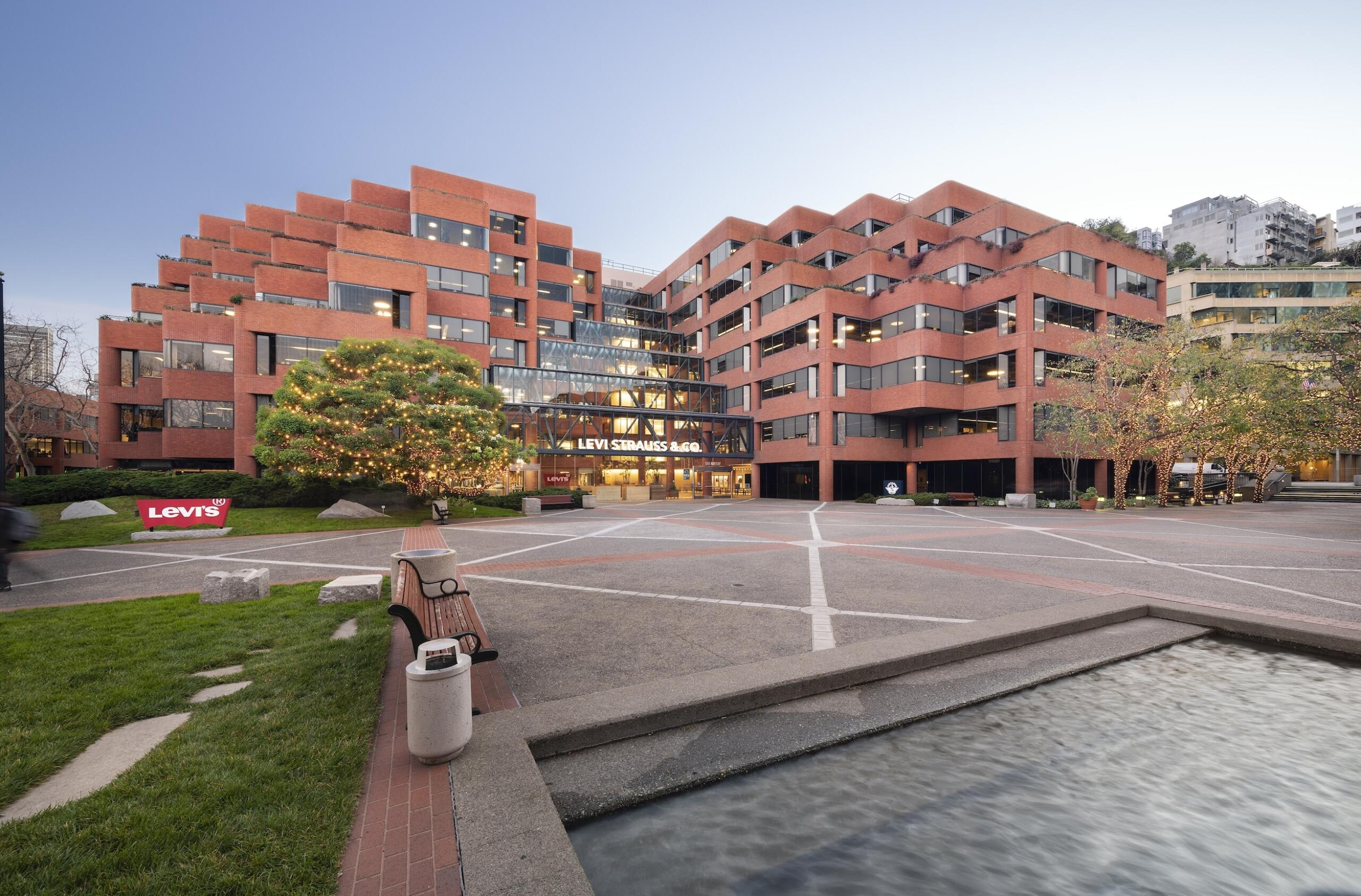Exterior of Levi's Plaza in San Francisco with water in foreground