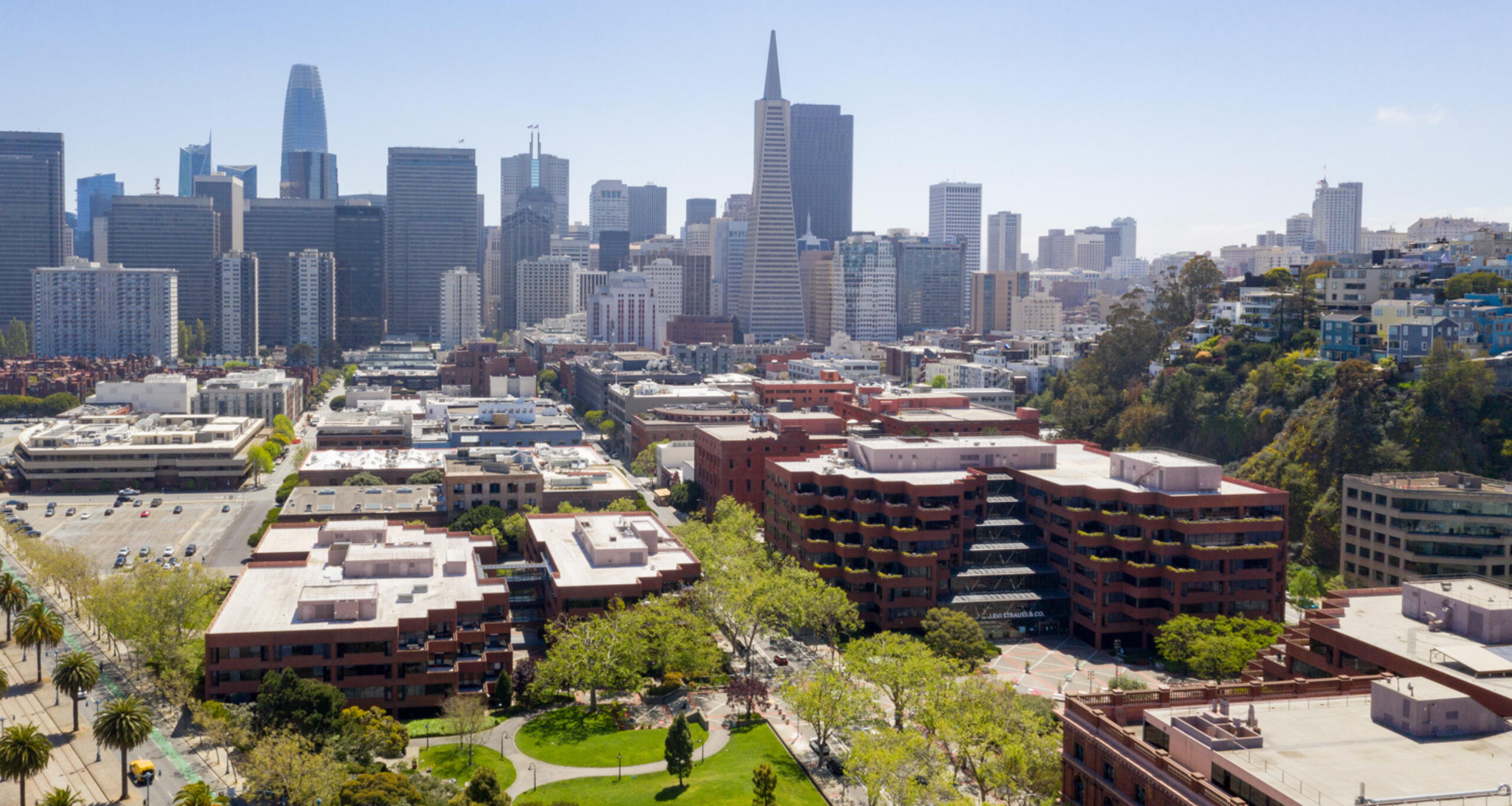 Aerial of Levi's Plaza with San Francisco skyline in background