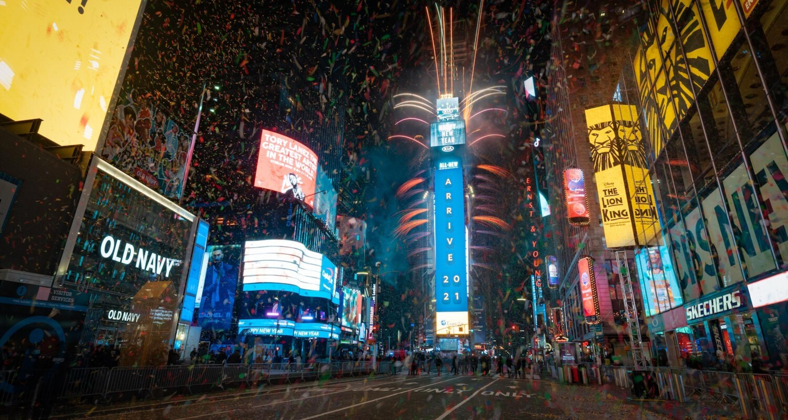 One Times Square on New Year's Eve 2021 with fireworks during the ball drop