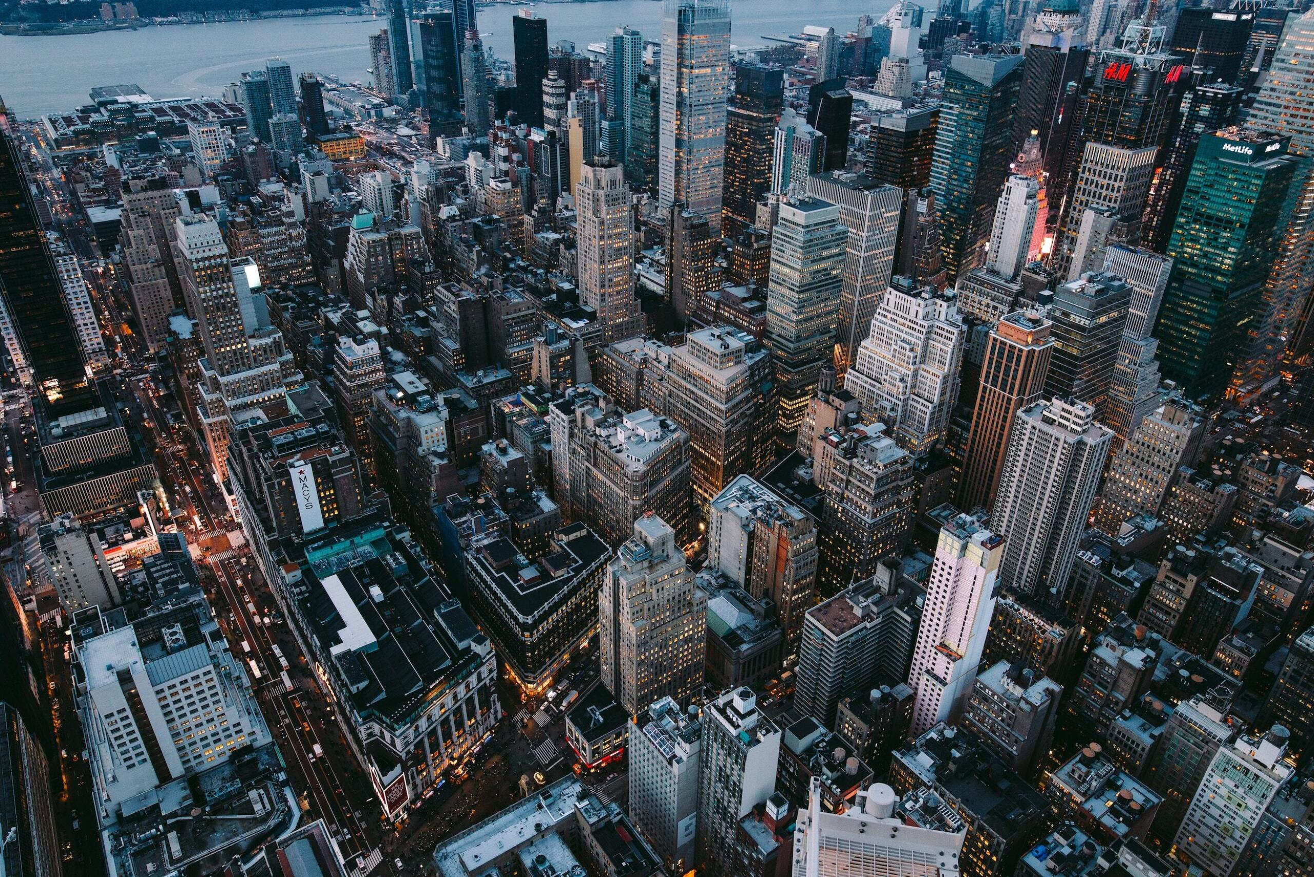 Aerial shot of New York City at dusk