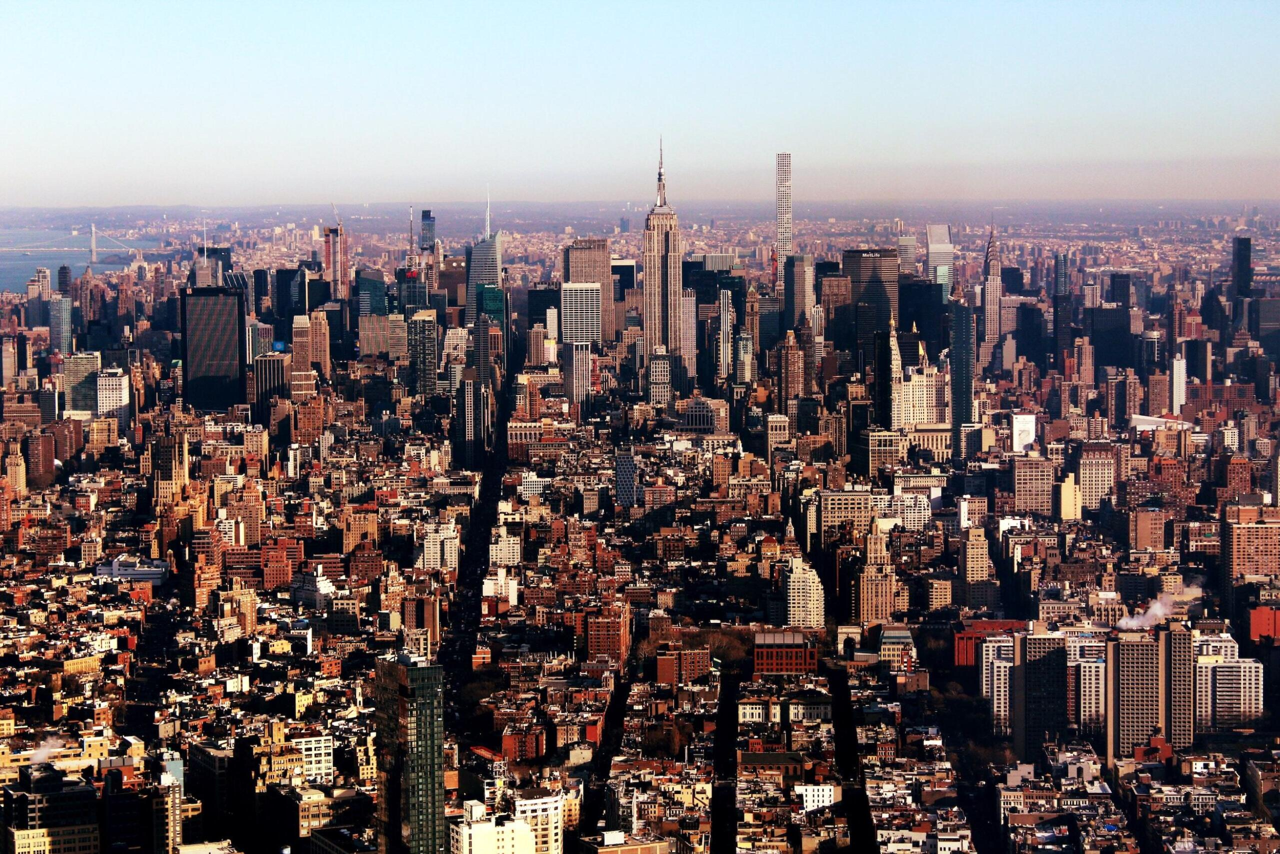 Wide aerial shot of Manhattan, New York City