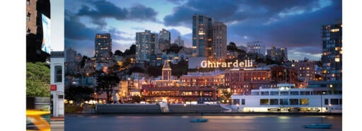 Ghirardelli Square at night over the water in San Francisco