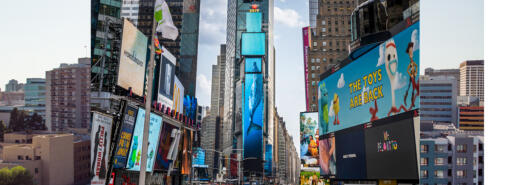 A digital whale swims up the screens of One Times Square in New York City