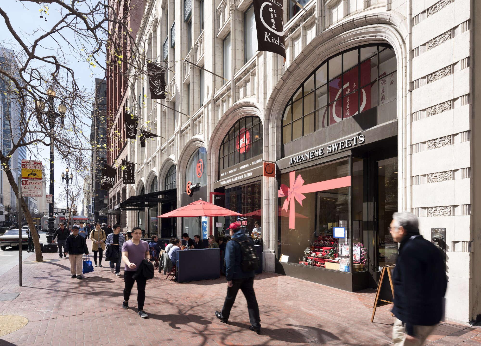 660 Market retail store facades with pedestrians on sidewalk