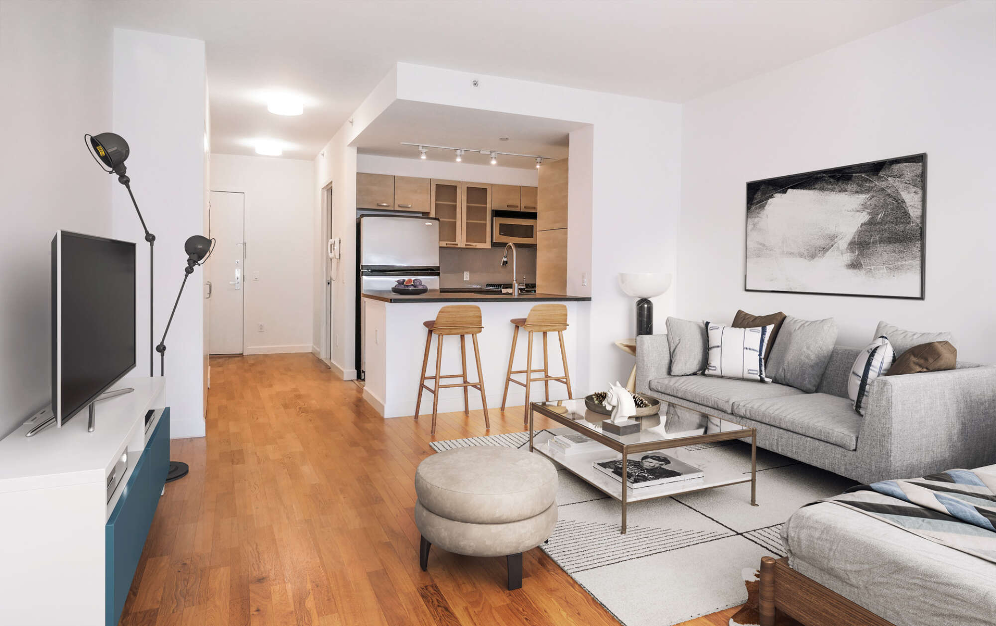 88 Leonard staged model apartment unit interior
