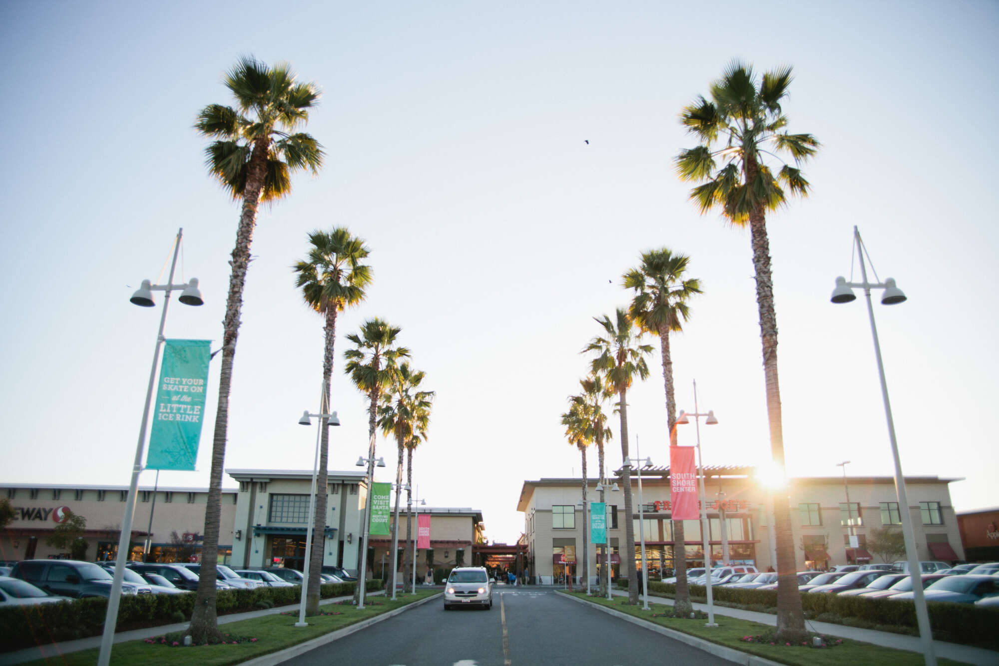 Alameda South Shore Center main entrance to parking lot lined with palm trees and parked cars