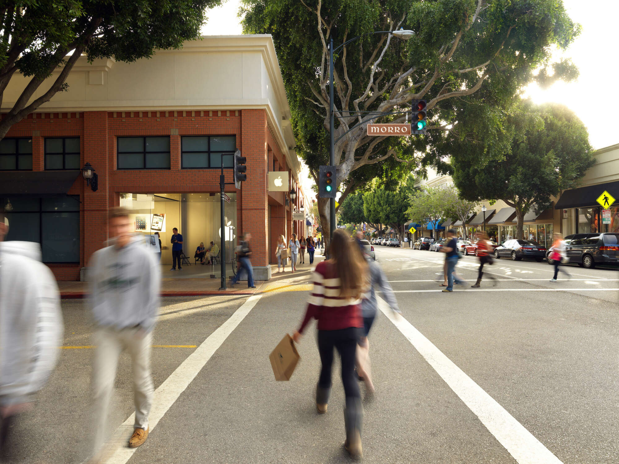 People crossing the street at The San Luis Obispo Collection