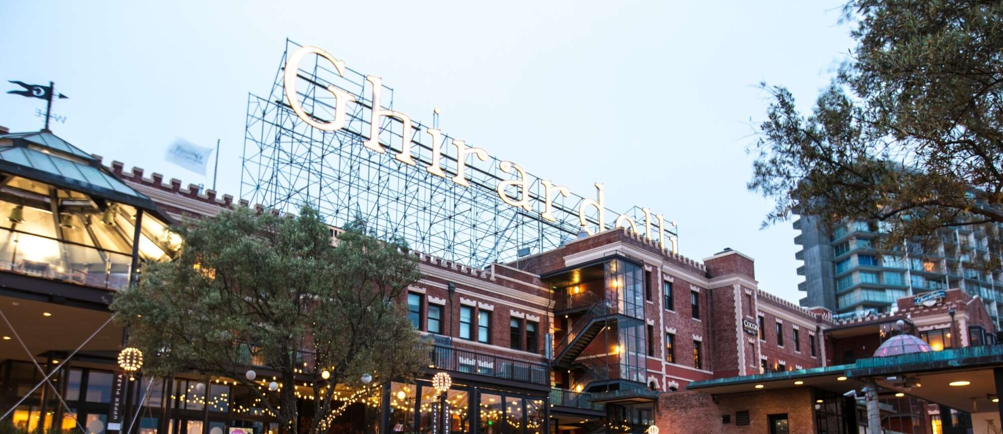 Ghirardelli Square exterior with marquis sign on roof