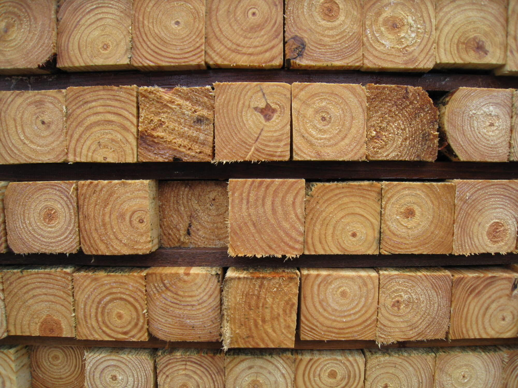 Pieces of lumber arranged in a grid