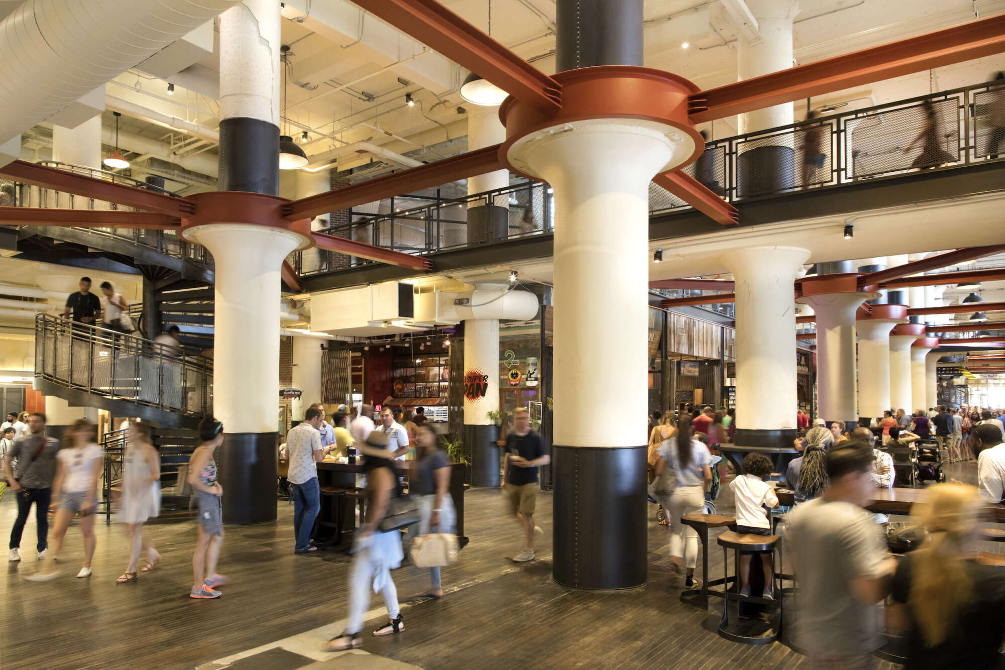 The lunch rush in the Central Food Hall of Ponce City Market