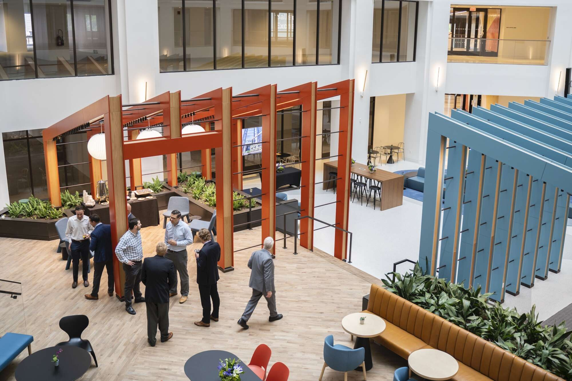 Ballston Exchange interior atrium with visitors congregating