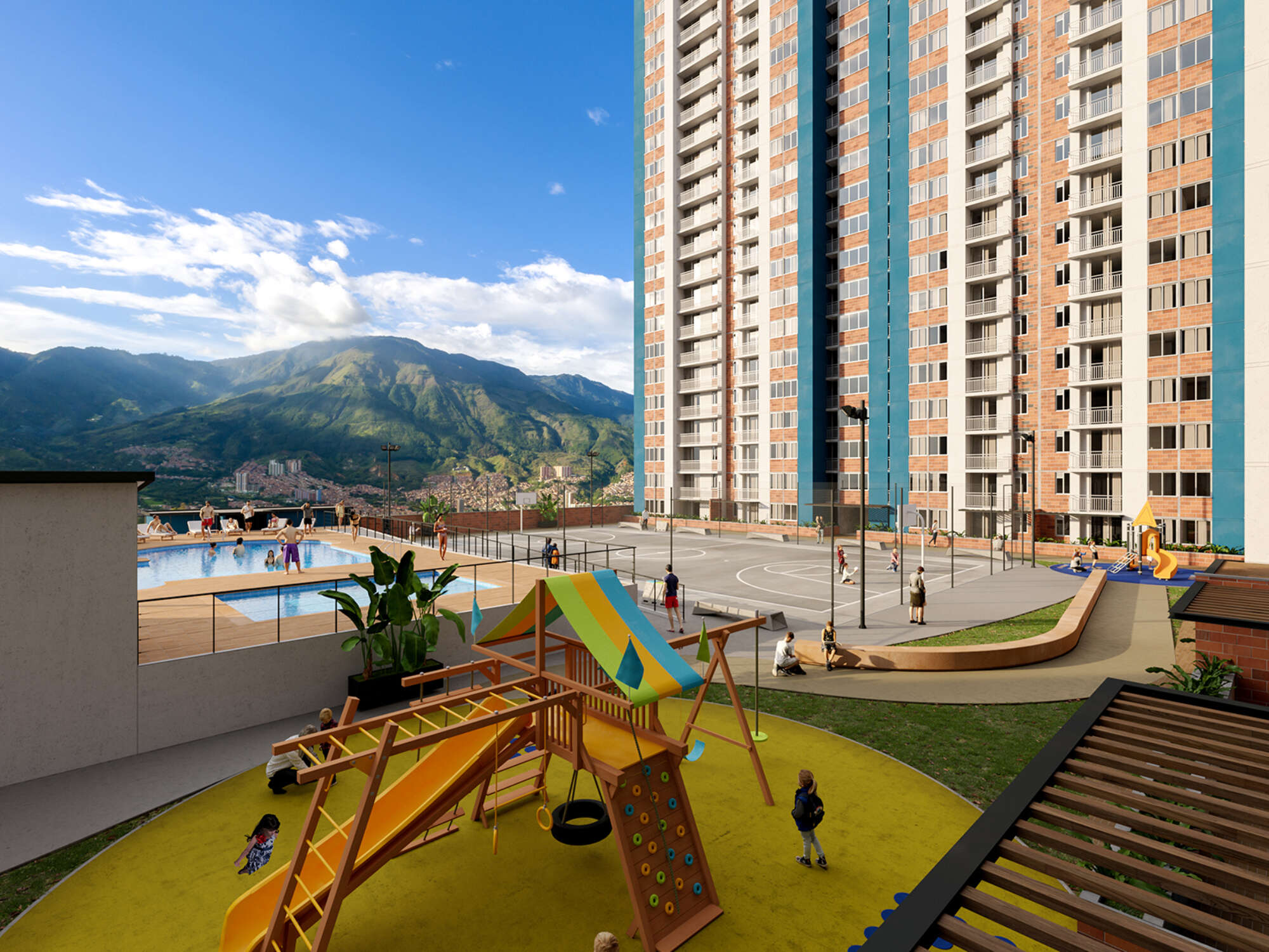 Rendering of apartment building with pool and playground in foreground and mountains and blue sky in background