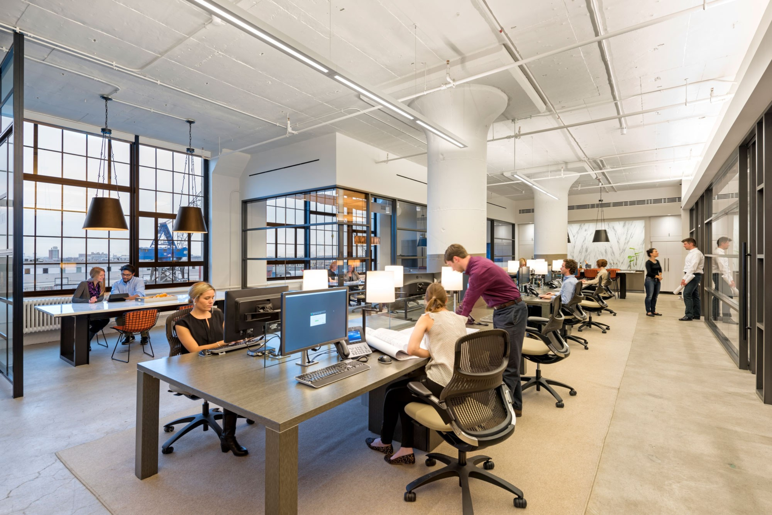People working in large open office