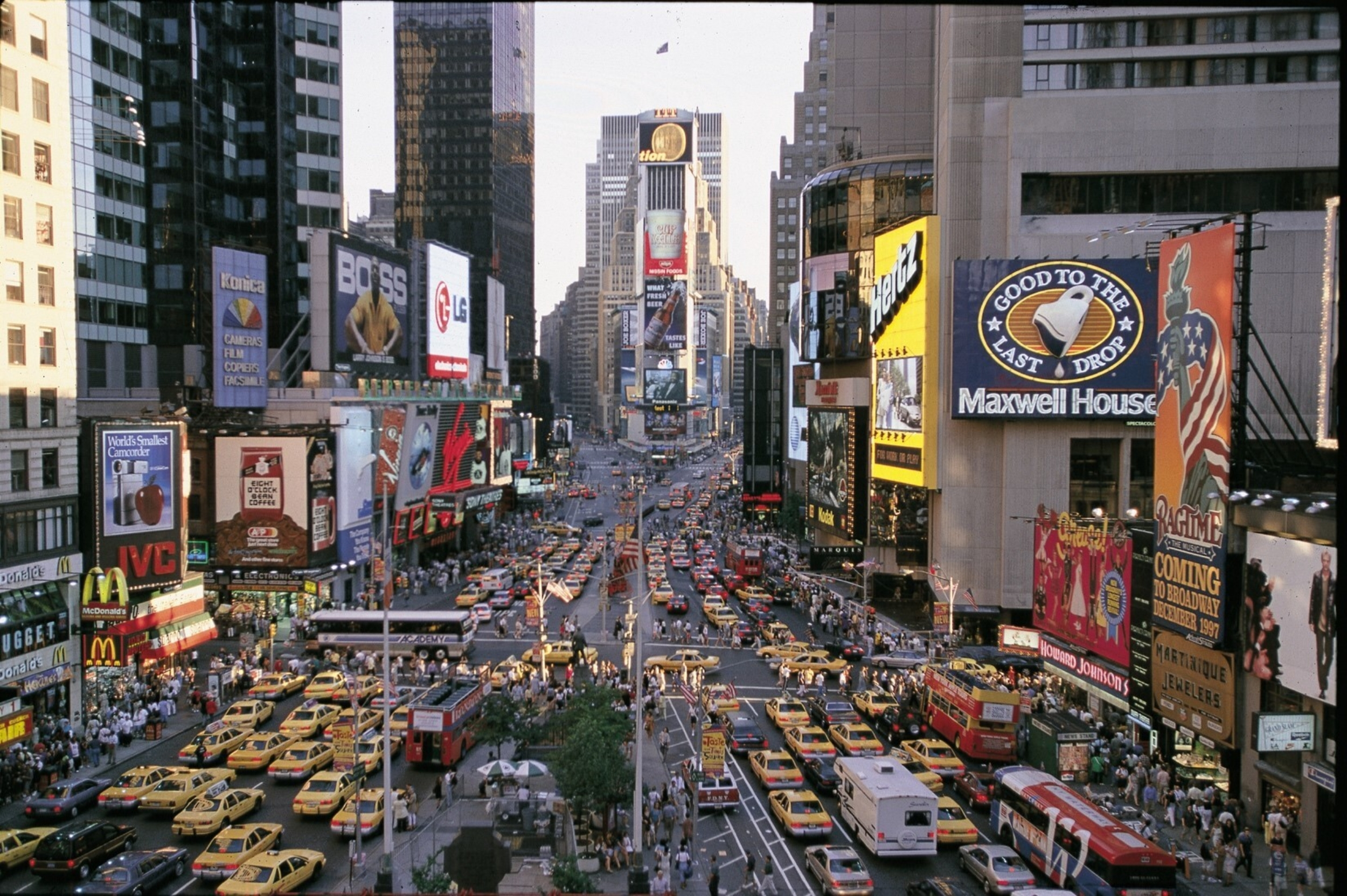 A late 1990s image of Times Square in New York City with One Times Square in the middle